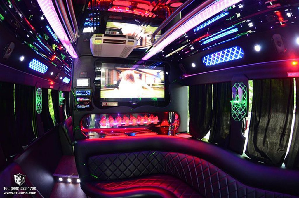 party bus interior - inside a limo - flat screen