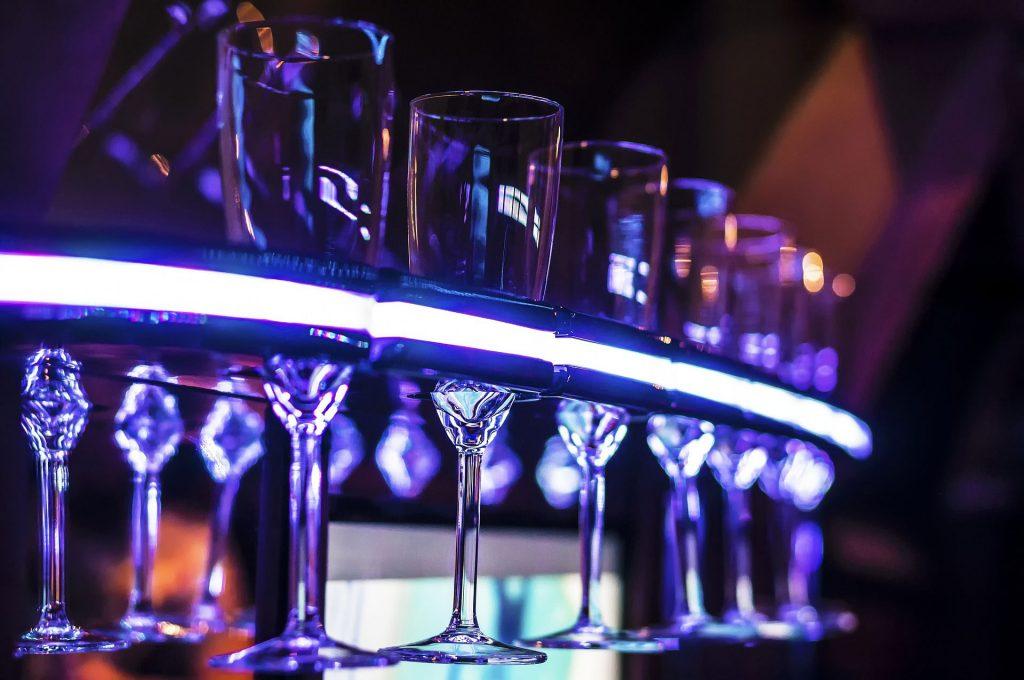 mini bar - inside a limo - stemware - neon light