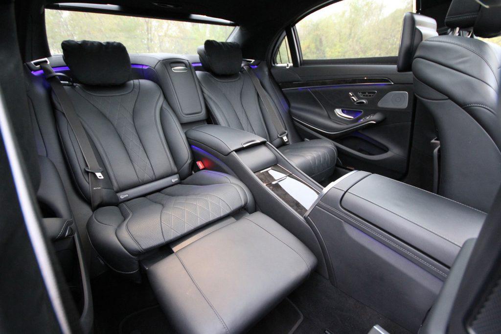 inside a limo - luxury sedan - leather seats - back seats